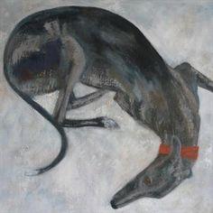 Greyhound On Duvet by Anna Wilson-Patterson