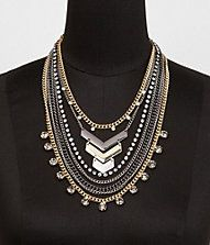 SEVEN-ROW BEAD, CHAIN AND CHEVRON NECKLACE #EXPRESS