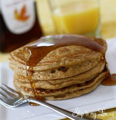 Healthy Whole Wheat and Flax Guilt Free Pancakes. A delicious breakfast recipe idea.