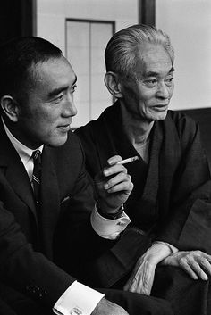 "runawayhorses: "" Yukio Mishima and Yasunari Kawabata source "" Yasunari Kawabata & Yukio Mishima, two famous authors. Because of the Japanese tradition of Seppuka & the cultural belief in ancestors which results in the blurring of the border between..."