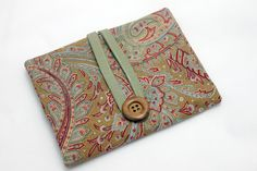 Knitting Needle Case for interchangeable and circular needles - with zippered pocket - elegant paisley motif