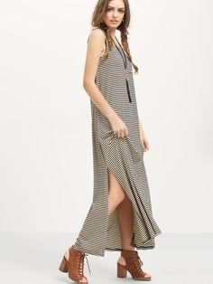 Shop Black Striped Sleeveless Split Side Maxi Dress online. SheIn offers Black…