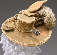 Lady's Hat With Hat PinCirca 1770, Unknown Maker, Silk velvet, ostrich plume, cut steel. Mint Museum