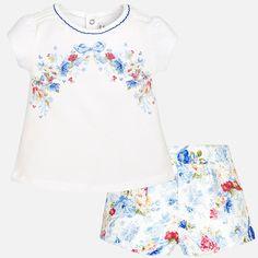 Short y camiseta manga corta bebé niña floral Cobalto