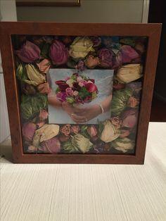Jenni's Wedding bouquet flowers in a Shadow Box.