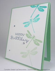 handmade birthday card ... clean and simple ... one layer ... dragonflies ... Stampin' UP!