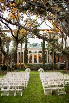 Anna and Spencer Photography, Atlanta Wedding Photographers. The Cloister Garden at Sea Island, Georgia set up for a Wedding Ceremony.