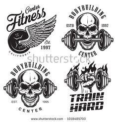 Buy Set of Bodybuilding Emblems by imogi on GraphicRiver. Set of bodybuilding emblems with skull wings and sport equipment in black colour. Logos Gym, Gym Logo, Crossfit Logo, Crossfit Shirts, Skull Helmet, Helmet Logo, Fitness Tattoos, Fitness Logo, Bodybuilding Logo