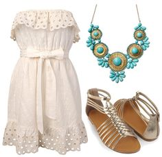 Little white dress outfit...... luv the necklace