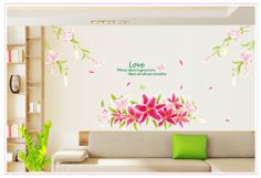 wall stickers decor -YYone Love Quote Huge Pink Lily Flowers Removable Wall Decal Home Decor Sticker Flower Mural