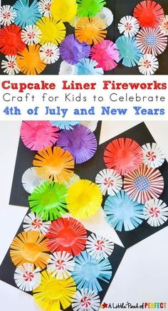 Cupcake Liner Fireworks Craft for Kids: Make colorful fireworks that seem to burst off the page using cupcake liners for an easy Patriotic Craft for the Fourth of July or New Years Day (easy kids craft, summer, scissor skills) kids' crafts New Year's Crafts, Easy Crafts For Kids, Toddler Crafts, Projects For Kids, Craft Projects, Chinese New Year Crafts For Kids, Bonfire Crafts For Kids, Spring Kids Craft, Summer Crafts For Preschoolers