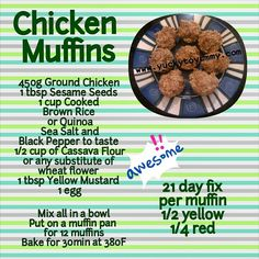 21 day fix grab and go kinda lunch  Gluten Free For vegetarians - substitute the chicken for mashed sweet potato Yucky to Yummy