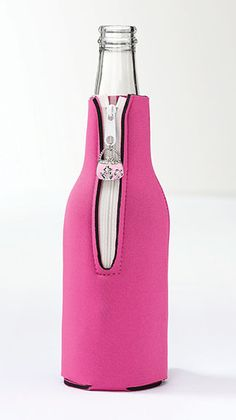 This cute Pink Bottle Cover Koozie is perfect for Bachelorette Parties and more!