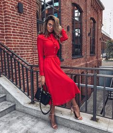 aesthetic red Magnificent Trendy Red Dress You Like This * Page 1 of 8 Elegant Outfit, Elegant Dresses, Cute Dresses, Casual Dresses, Maxi Dresses, Red Dress Casual, Dress Formal, Classy Outfits, Chic Outfits
