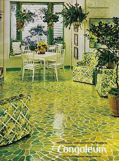 Vinyl flooring by Congoleum, Woman's Day, May 1974. Maybe this is why I didn't like the color green when I was young.