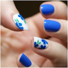 Blue and white with flowers