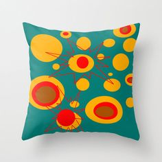 18X18  Mod RedTurquoise Outdoor Pillow Atomic by crashpaddesigns