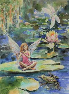 Fairy pond by Tatiana Chepsakova. Fantasy flower fairy artYou can find Fairy art and more on our website.Fairy pond by Tatiana Chepsakova. Art Inspo, Kunst Inspo, Fairy Paintings, Fantasy Paintings, Magical Paintings, Fantasy Kunst, Fantasy Art, Fairy Drawings, Photocollage
