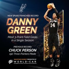 x191   @DGreen_14 has JUST set a new  Spurs franchise record for three-pointers made in a season!