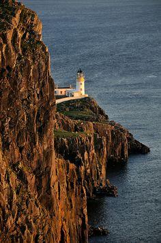Neist Point Lighthouse at sunset, the Isle of Skye, Scotland