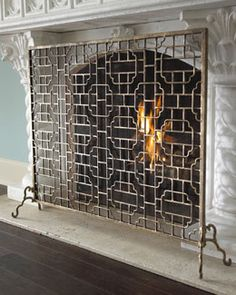 H55CW Dr. Livingston Single-Panel Fireplace Screen horchow   $280