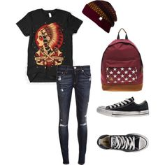 style / emo / punk / rock / outfit / converse / band / merch