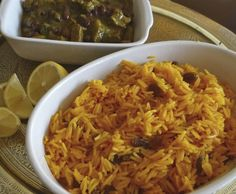 This is a traditional South African recipe, which comes from the great culinary tradition of the Cape Malays - originally brought in as slaves in the century. African Rice Recipe, South African Recipes, Ethnic Recipes, Yellow Rice Recipes, Homemade Corned Beef, Beef Appetizers, Quinoa Dishes, Beef Casserole, International Recipes