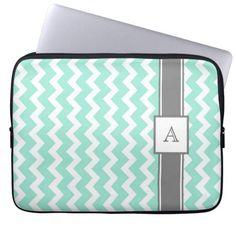 Laptop Custom Monogram Grey Aqua Chevrons Laptop Sleeves