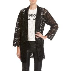 Boutique Moschino Macram& Lace Topper Jacket ($1,095) ❤ liked on Polyvore featuring outerwear, jackets, black, lace crochet jacket, shawl collar jacket, boutique moschino, slim fit jackets and slim jacket