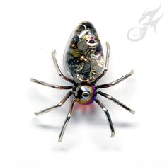 Victorian Steampunk SPIDER Pin Tie Tack Lapel Pin Hat Pin ArachneMachina Watch Gears in Resin Cabochon Red Magma Crystal Bead Silver Pin0130 by FANTASTICALITYbyRTD on Etsy