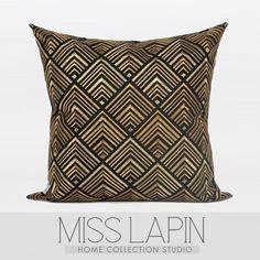 新中式/样板房家居软装沙发床头靠包抱枕/黑金几何图案绣花方枕-淘宝网
