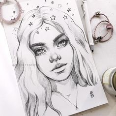 Girl Face Drawing, Girl Drawing Sketches, Face Sketch, Girl Pencil Drawing, Desenhos Love, Pencil Drawings Of Girls, Art Painting Gallery, Arte Sketchbook, Tumblr Art