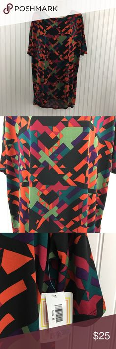 """New lularoe Irma Hi Low Tunic Geometric Print Brand new Lularoe Irma tunic hi-low shirt. No flaws. Shades of teal, orange black and green. In excellent condition no rips stains or holes.  Approximate measurements flat across  Chest:26"""" Waist: 25"""" length: 26""""(Front) 33""""(back) Color may vary slightly LuLaRoe Tops Tees - Short Sleeve"""