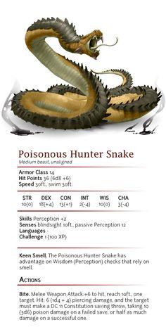 Poisonous Hunter Snake - CR 1 by dizman