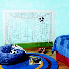 What a great wall mural for a toy room or boys room whose big into soccer!
