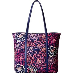 Vera Bradley Trimmed Vera (Katalina Pink/Navy) Tote Handbags (65 CAD) ❤ liked on Polyvore featuring bags, handbags, tote bags, pink, tote purses, zippered tote bag, zip tote bag, vera bradley tote bags and navy tote bag