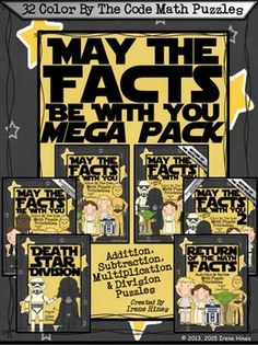 Star Wars: May The Facts Be With You Mega Pack Bundle ~ 32 Color By The Code Math Puzzle Printables!Use the children's love of Star Wars to practice basic addition, subtraction, odd and even number recognition as well as multiplication and division facts. ~This Color By Number Unit Is Aligned To The CCSS.