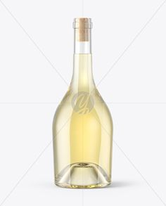 Clear Glass White Wine Bottle With Cork Mockup