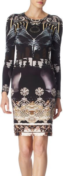 Mary Katrantzou Black and Pearl Crystal Print Nebraska Silk Dress