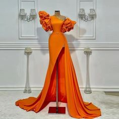 Fancy Wedding Dresses, Pretty Prom Dresses, Glam Dresses, Wedding Dress Sleeves, Stunning Dresses, Elegant Dresses, Cute Dresses, Fashion Dresses, Orange Evening Dresses