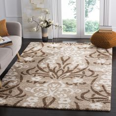 Safavieh Florida Shag Beige/ Cream Damask Area Rug (6' 7 Square) (SG457-1311-7SQ), Brown, Size 6'7 x 6'7
