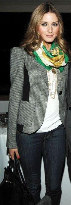 Olivia Palermo wearing Hermes Silk Twill Scarf in Green and Diane von Furstenberg Theobald Blazer.