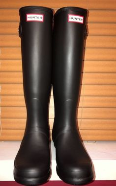 20e50829672 Original Women s Hunter Boots Tall Black Matte-Brand New Never Worn US Size  8