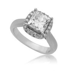 Ladies Princess Cut Diamond Halo Engagement Ring in White Gold | Rings ...