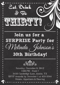 Birthday Invitation Ideas For Adults Party Decorations 40th 30th