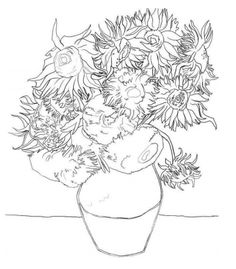 sunflowers vangogh coloring pages - 28 images - free coloring pages of vincent gogh, free coloring pages of sunflowers vangogh, gogh sunflowers coloring pages more information, coloring pages misc on coloring pages, sunflower coloring page gogh Sunflower Mandala, Sunflower Colors, Sunflower Drawing, Sunflower Coloring Pages, Frozen Coloring Pages, Colouring Pages, Pattern Coloring Pages, Printable Adult Coloring Pages, Van Drawing