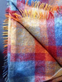 """Womens Heather Brae Wrap Shawl Mohair Tweedvale 63x53"""" Scotland  Gold Red Blue #HeatherBrae #ShawlWrap"""