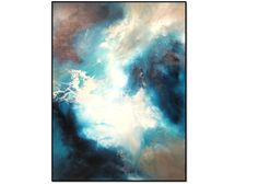 Huge Abstract Painting on Canvas, Abstract Sky Art, Abstract Painting, Blue White Abstract Clouds, Modern Art, Unique Painting,Statement Art by RenaeSchoeffelArt on Etsy