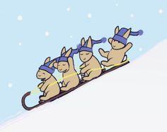 Children's Wall Art -  Bunny Rabbit Nursery Decor - Sledding Bunnies Winter Sports