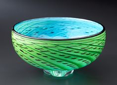 """""""Storm Bowl: Green & Turquoise""""  Art Glass Bowl  Created by Thomas Kelly"""